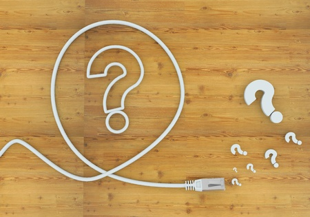 Light cyan  wooden ask 3d graphic with unclear question icon formed by an cable photo