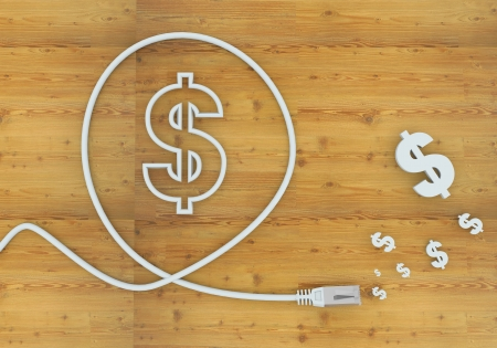 Light cyan  wooden network 3d graphic with financial Dollar icon formed by an cable