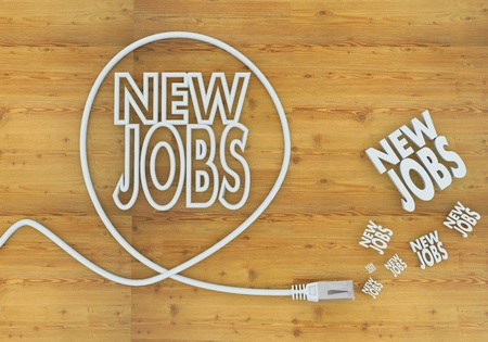 employing: Light cyan  creative connection 3d graphic with wooden new jobs icon formed by an cable