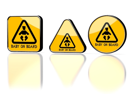 Dark orange  element label 3d graphic with element baby on board symbol on three warning signs photo