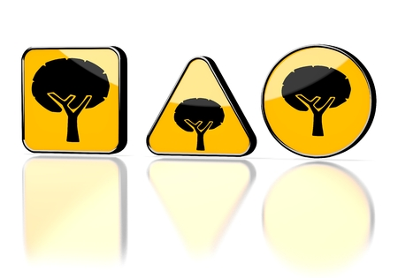 autumnn: Dark orange  element design 3d graphic with eco abstract tree symbol on three warning signs