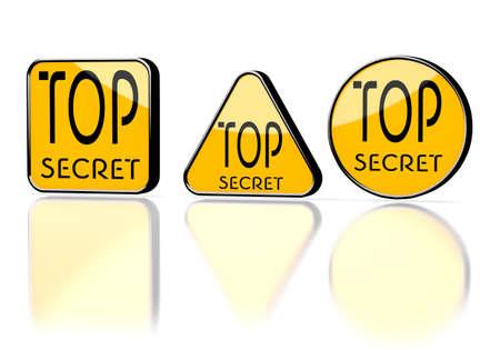 undercover: Arancione scuro privato 3d sotto copertura con grafica superiore isolato simbolo segreto su tre segni premonitori