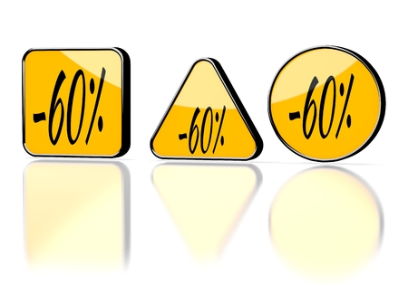 deduction: Dark orange  -60 deduction 3d graphic with element discount symbol on three warning signs Stock Photo