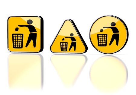 cast off: Dark orange  warning button 3d graphic with caution delete symbol on three warning signs
