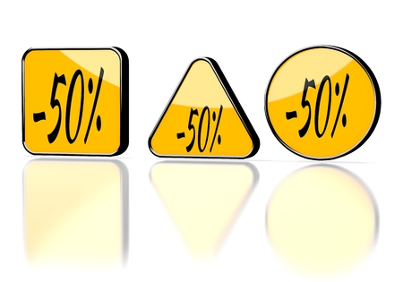 deduction: Dark orange  isolated deduction 3d graphic with warning discount symbol on three warning signs