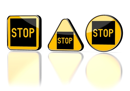 stay alert: Dark orange  caution label 3d graphic with caution stop symbol on three warning signs