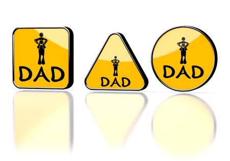 Dark orange  isolated button 3d graphic with warning dad symbol on three warning signs Stock Photo - 22589305