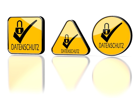 ciphering: Dark orange  warning protection 3d graphic with element datenschutz(english data protection) symbol on three warning signs Stock Photo