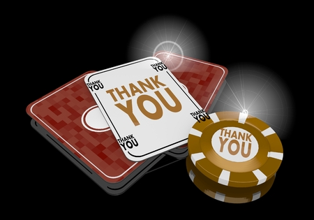 Pastel gray  golden casino 3d graphic with golden thank you icon  on poker cards photo
