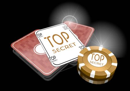 arcane: Pastel gray  posh top 3d graphic with golden top secret sign  on poker cards