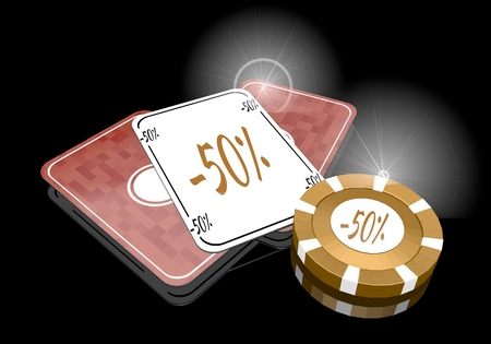 rebate: Pastel gray  golden rebate 3d graphic with noble discount symbol  on poker cards