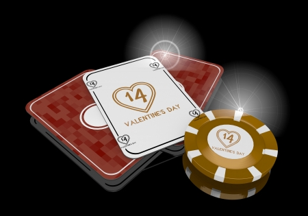 risky love: Pastel gray  glaring heart 3d graphic with exclusive valentines day symbol  on poker cards