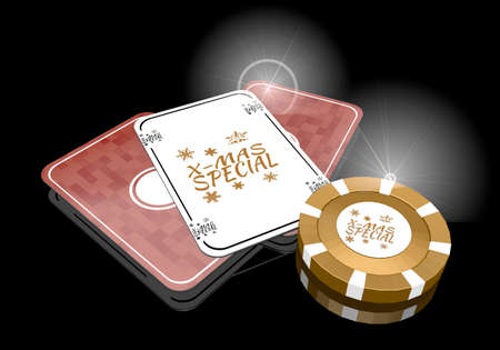 glaring: Pastel gray  glaring commercial 3d graphic with glaring christmas special sign  on poker cards
