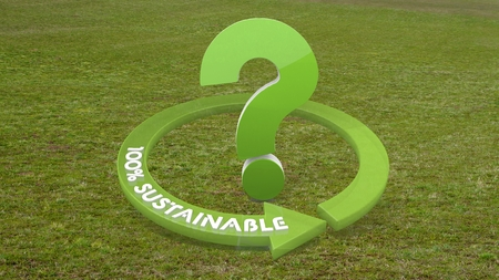 unresolved: Green environmental ecology 3d graphic with undissolved question icon  on grass