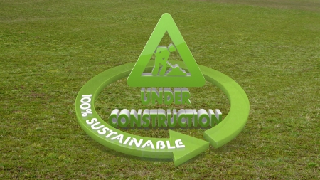 Green eco builder 3d graphic with sustainable under construction icon  on grass photo