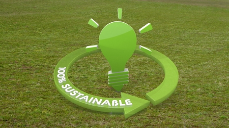 knowhow: Green environmental knowhow 3d graphic with eco idea symbol  on grass