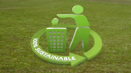 cast off: Green erased litter 3d graphic with eco delete sign  on grass Stock Photo