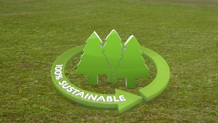 autumnn: Green sustainable design 3d graphic with natural abstract group of trees icon  on grass