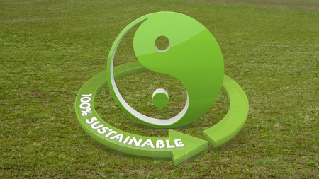 Green sustainable spirit 3d graphic with sustainable ying yang sign  on grass photo