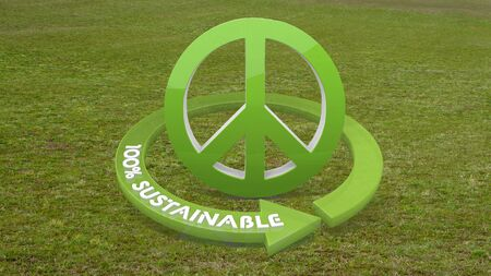 Green eco love 3d graphic with eco peace symbol  on grass photo