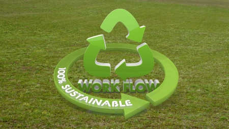 Green working procedure 3d graphic with environmental workflow symbol  on grass photo