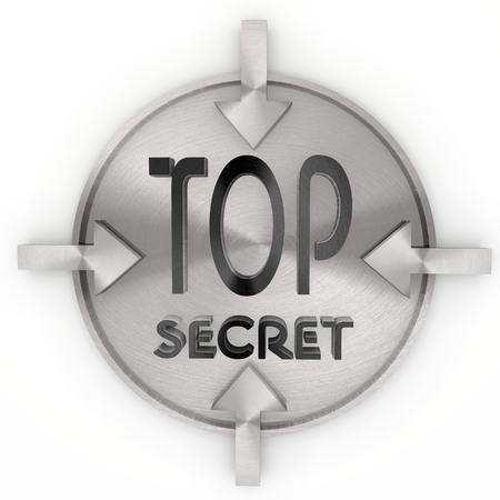 arcane: Pastel gray  isolated button 3d graphic with isolated top secret icon on metallic label Stock Photo