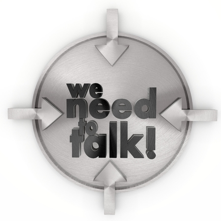 comunication: Pastel gray  cool comunication 3d graphic with glossy we need to talk symbol on metallic label