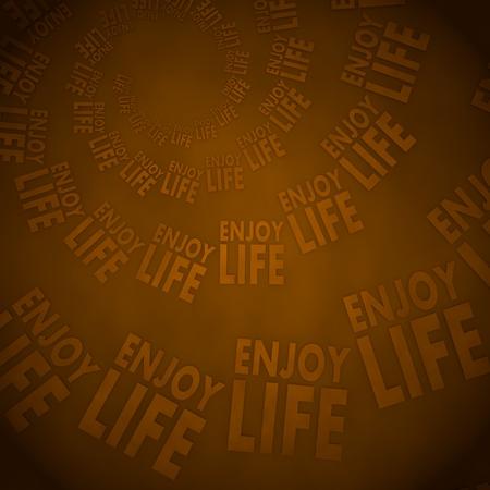 enjoy life: Dark pastel red  vintage spiral 3d graphic with soft enjoy life label  on vintage background