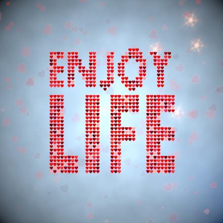 enjoy life: Cielo azzurro teneri cuori 3d grafica con tenera godono simbolo di vita di migliaia di cuori