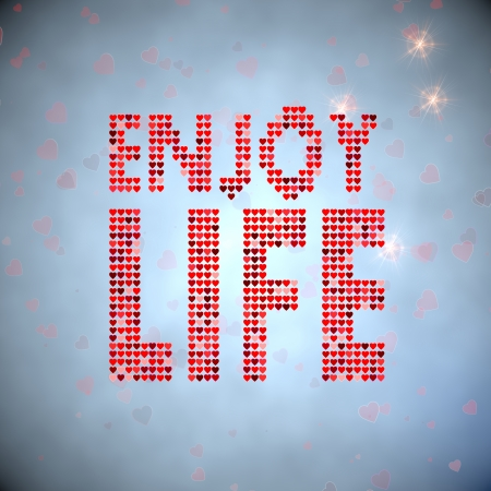 enjoy life: Light sky blue  tender hearts 3d graphic with tender enjoy life symbol of thousand hearts