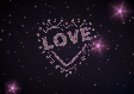 popping: Black  popping glitter 3d graphic with glowing heart with stars symbol of glamour stars
