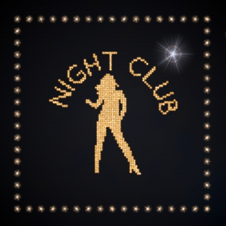 Black  magic bar 3d graphic with glowing night club symbol glittering golden Stock Photo - 22589934