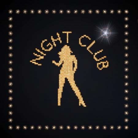 Black  magic bar 3d graphic with glowing night club symbol glittering golden Stock Photo - 22589934