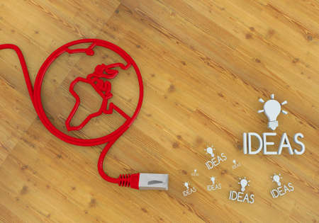 Red  connected connection 3d graphic with creative idea icon on network to home office desk Stock Photo - 22589996