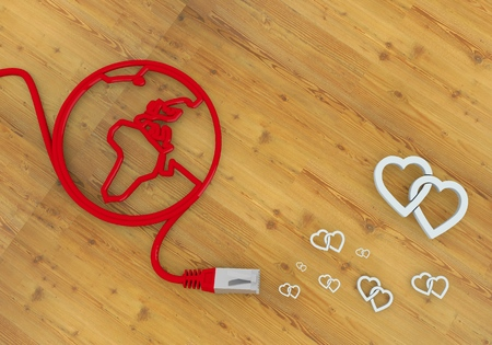 Red  coltish connection 3d graphic with playful two hearts symbol on network to home office desk Stock Photo - 22589997