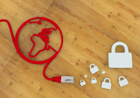 Red  connected locked 3d graphic with wooden secure symbol on network to home office desk Stock Photo - 22590004