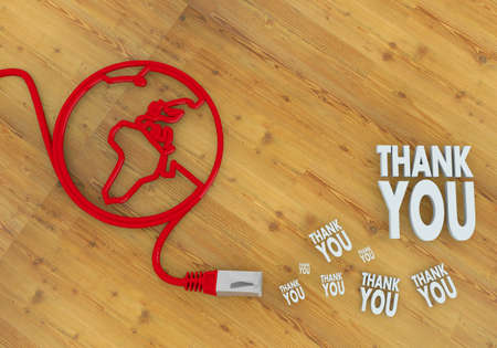 Red  connected greeting 3d graphic with connected thank you icon on network to home office desk Stock Photo - 22590009