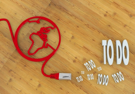 Red  wooden doing 3d graphic with connected to do symbol on network to home office desk Stock Photo - 22590006