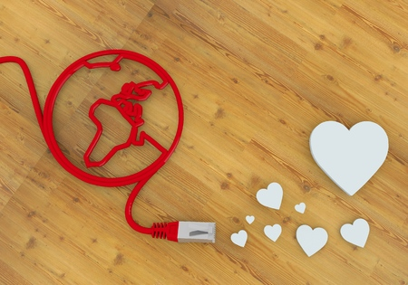 home office desk: Red  loving wedding 3d graphic with loving heart symbol on network to home office desk