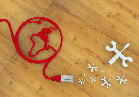 Red  constructing connection 3d graphic with repairing mechanic symbol on network to home office desk Stock Photo - 22590011