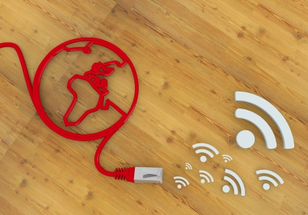 Red  connected network 3d graphic with wooden wifi icon on network to home office desk Stock Photo - 22590014