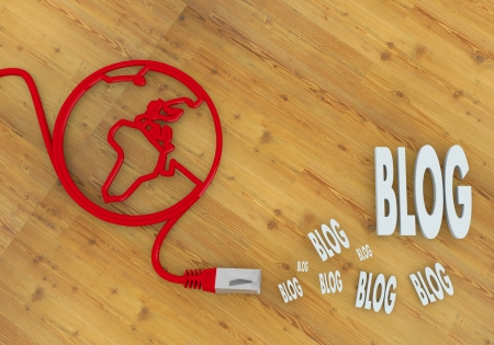 home office desk: Red  wooden blogger 3d graphic with networking blog icon on network to home office desk