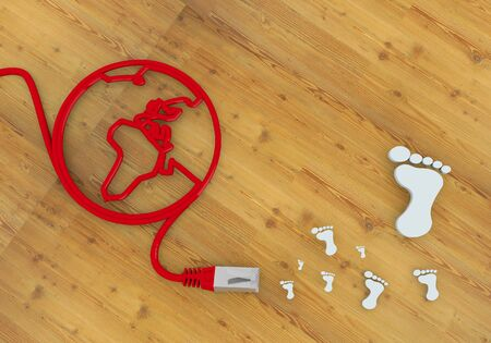 home office desk: Red  wooden foot print 3d graphic with wooden footprint symbol on network to home office desk