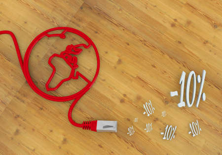 home office desk: Red  wooden special offer 3d graphic with -10 discount symbol on network to home office desk