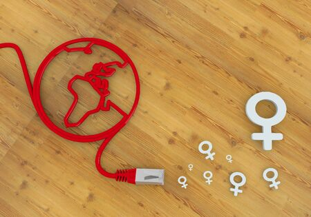 home office desk: Red  wooden connection 3d graphic with female woman symbol on network to home office desk