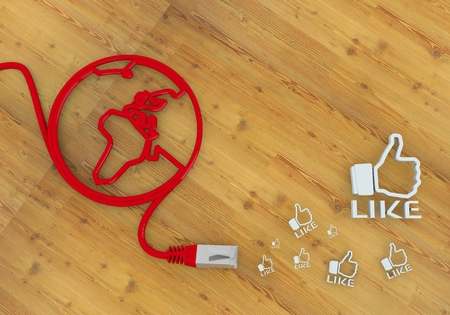 home office desk: Red  wooden network 3d graphic with wooden like icon on network to home office desk Stock Photo