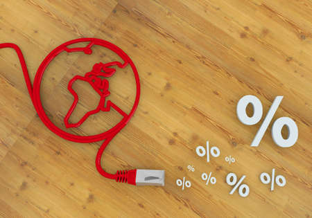 home office desk: Red  connected price reduction 3d graphic with wooden percent symbol on network to home office desk