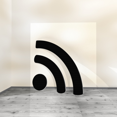 wlan: Black  modern w-lan 3d graphic with cool wifi sign leaning on a wall Stock Photo
