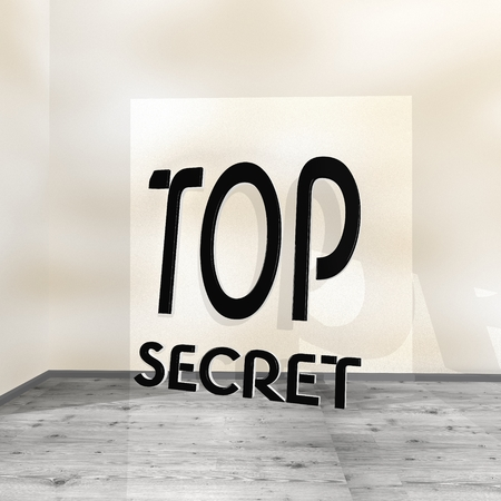 arcane: Black  creative undercover 3d graphic with posh top secret symbol leaning on a wall