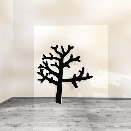 autumnn: Black  posh wood 3d graphic with eco abstract stump icon leaning on a wall